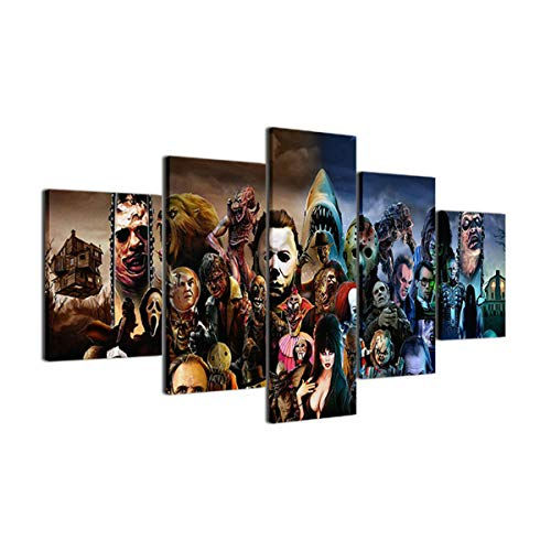 - NATVVA 5 Piece Painting Canvas Printed Decoration Wall Art Horror Movie Canvas Print Painting Poster Wall Pictures Frame