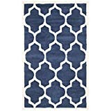 Safavieh Amherst Collection AMT420P Navy and Beige Indoor/Outdoor Area Rug, 3 Feet by 5 Feet