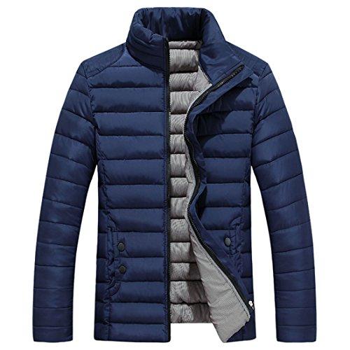 Collare Di Cappotto Basamento Uomini Giù Blu In Solido Sottile Grmo Forma Puffer Trapuntato Outwear Navy Spessore I5nwO
