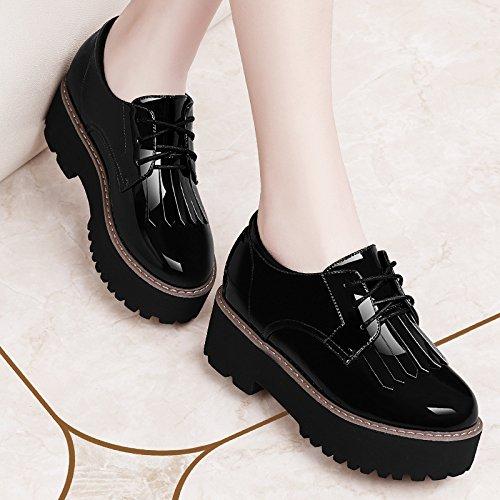KHSKX-Korean Platform Shoes Spring Tide All-Match Flat Shoes Casual Shoes Shoes Female Students Black