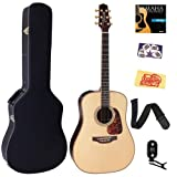 Takamine P7D Pro Series 7 Dreadnought Acoustic-Electric Guitar Bundle with Hardshell Case, Tuner, Strap, Strings, Picks, and Polishing Cloth - Natural