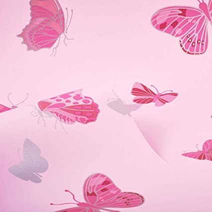 Butterfly Wallpaper Pink Metallic Silver Girls Bedroom