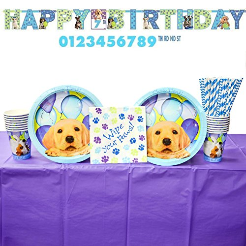 Party Pups Party Supplies Pack: Straws, Dinner Plates, Luncheon Napkins, Cups, Banner, and Table Cover (Bundle for 16 (Cedar Market Table)