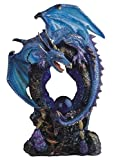 StealStreet SS-G-71355 Blue Dragon Standing on Rock with Pearl Collectible Figurine Statue