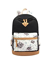 Women's Korean Version of the Canvas Shoulder Bag Floral Stitching Large Capacity Travel Bag Computer Backpack (black)