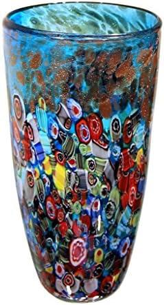 New 12 Hand Blown Glass Murano Art Style Vase Blue Gold Italian Millefiori Multicolor Decorative Home Decor Flower