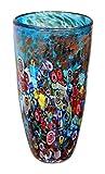 New 12'' Hand Blown Glass Murano Art Style Vase Blue Italian Millefiori Multicolor