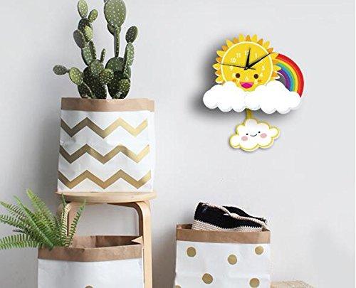INS Sun Rainbow Wall Clock Wall Background Cartoon Wall Bell Slient quartz clock (5) by Sportskindom (Image #2)