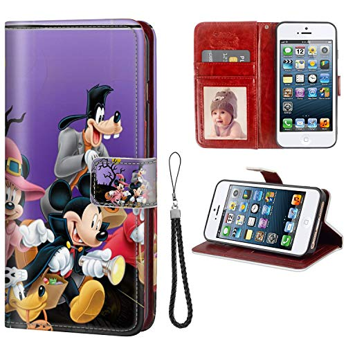 Iphone 5 Halloween Wallpapers (DISNEY COLLECTION Wallet Case Fits for iPhone SE or 5S or 5 5.5in Halloween Mickey Mouse and Minnie Mouse Goofy Donald Duck Pluto Disney Halloween Wallpaper)