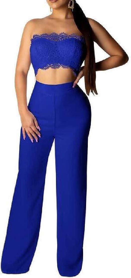 Valoda Women Lace Back Zipper Cutout Strapless Solid Color Wide Leg Rompers Jumpsuit
