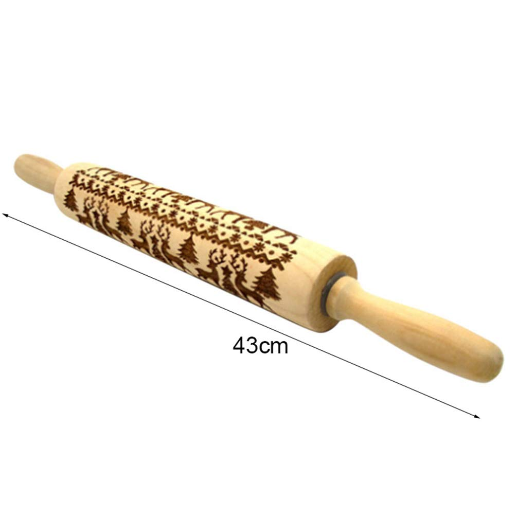 ASOSMOS Christmas Rolling Pin Engraved Carved Wood Embossed Rolling Pin Kitchen Tool (35CM)