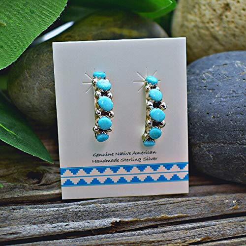 (Genuine Sleeping Beauty Turquoise Half Hoop Earrings in 925 Sterling Silver, Native American Handmade in the USA, Nickle Free)