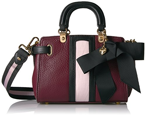 Pink Juicy Leather Couture (Juicy Couture Trousdale Leather Mini Daydreamer 2 Satchel, deep burgundy/pitch black/crushed pale pink)