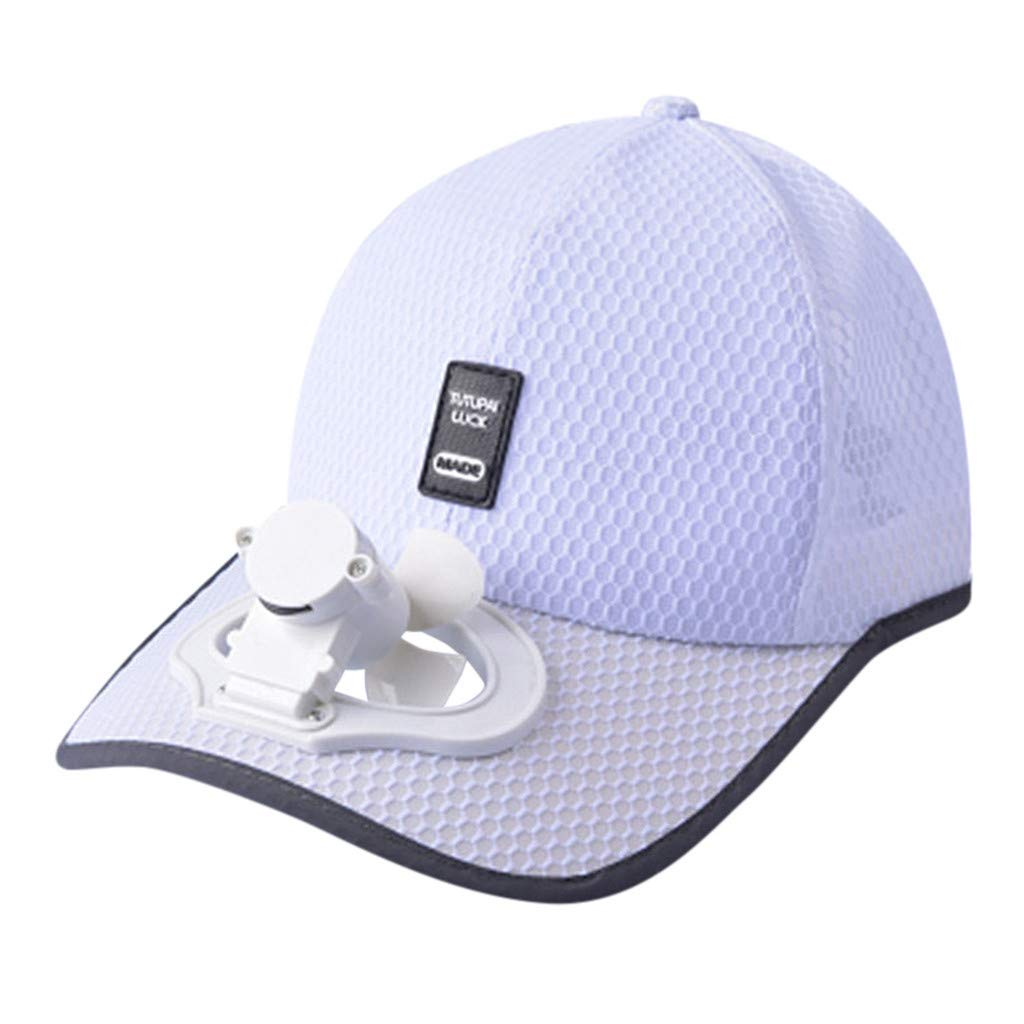 Meidexian888 USB Charging Fan Cap,Summer Adult Unisex Cooling Breathable Shade Sunscreen Camping Hiking Peaked Cap Fan Baseball Hat (White)