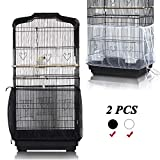ASOCEA Universal Birdcage Cover Bird Cage Seed Catcher Parrot Cage Mesh Skirt Birdseed Nylon Net Guard Extra Large - Black & White