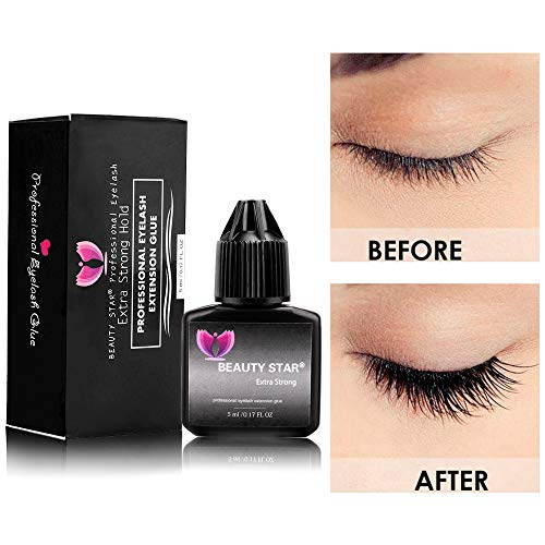 Eyelash Extension Glue, Beauty Star 5 ml/1-3 Sec Drying time/Retention–20-30 days/Maximum Bonding Power/Self-Grafted/Black Adhesive/for Semi-Permanent Extensions Supplies