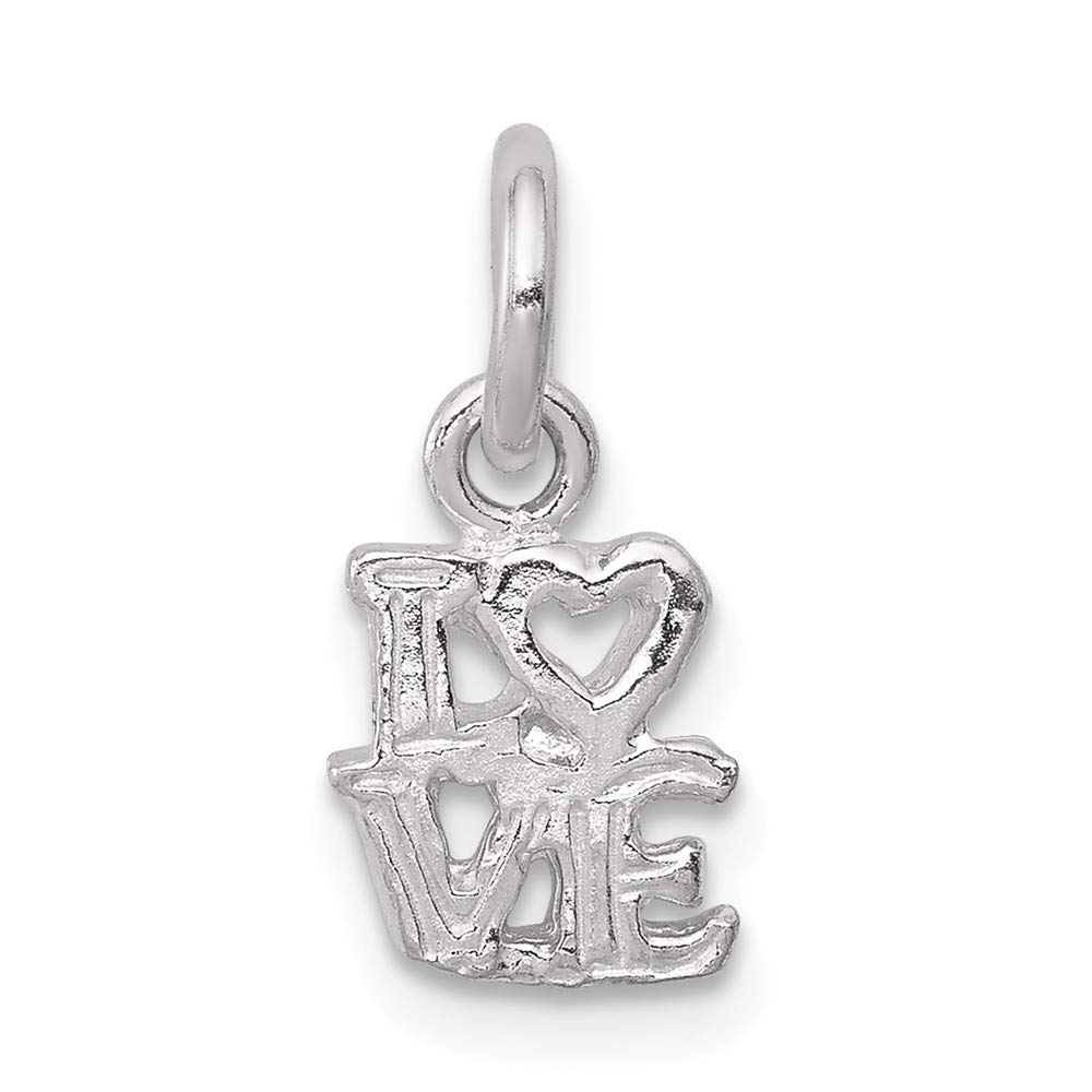Mireval Sterling Silver Love Charm on an Optional Charm Holder