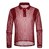 Dreamyth Men's Casual Party Mesh Shirts Long Sleeve Shirt Poloshirt Top Blouse (Red, Bust:100cm/39.4'')