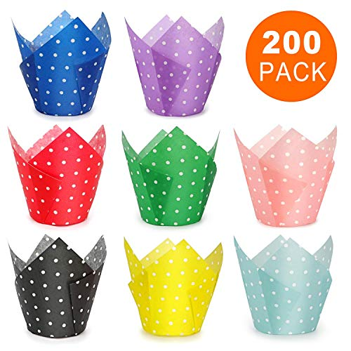 Tulip Cupcake Liners, 200 Pcs 8 Colors Polka Dot Baking Cups, HULISEN Premium Greaseproof Paper, Muffin Liners for Wedding, Baby Showers, Party, Standard Size- Bottom Diameter 2 inch, Gift Package -
