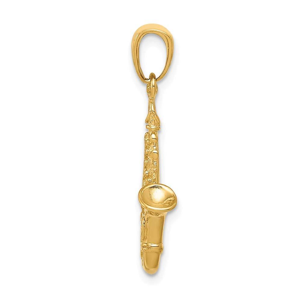 14k Yellow Gold Saxophone Pendant 25mm Length