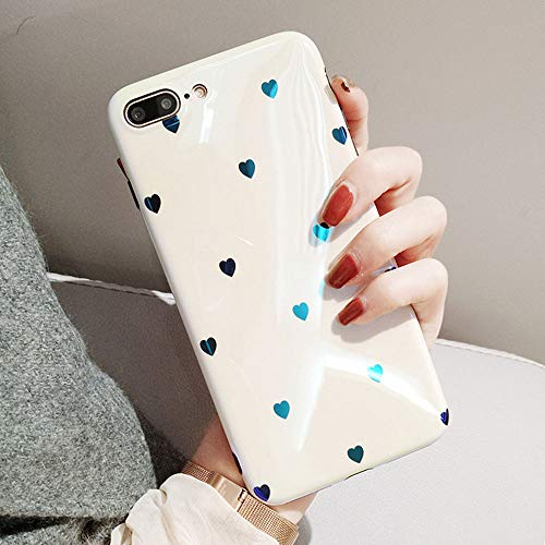 White Case Solid - BONTOUJOUR iPhone XS Max Phone Case, Beautiful Art Polka Dot Flower Little Heart Pattern Serie Cover Case Soft TPU 360 Degree Good Protection- White Little Heart