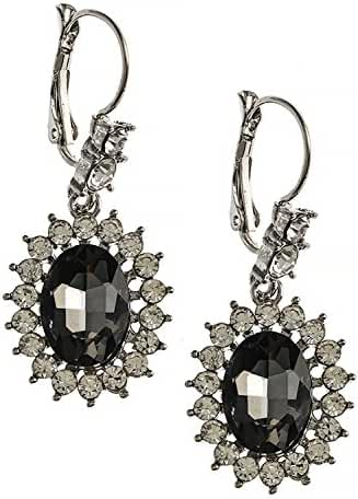 TRENDY FASHION JEWELRY ROUND FAUX JEWELED HALO DROP EARRINGS BY FASHION DESTINATION