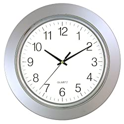 Timekeeper 13 Clock with Silver Frame and Chrome Bezel / Flat Glass Lens, Silver/White
