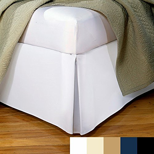 Sathi Bedding 500-TC Sateen 1-PC Luxury Split Corner Tailered Bed Skirt King / Eastern King Solid White 20'' Inches Drop Length 100% Egyptian Cotton