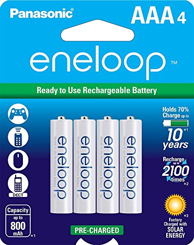 Panasonic BK-4MCCA4BA eneloop AAA 2100 Cycle Ni-MH Pre-Charged Rechargeable Batteries, 4 Pack (4 Aaa Pack Green)