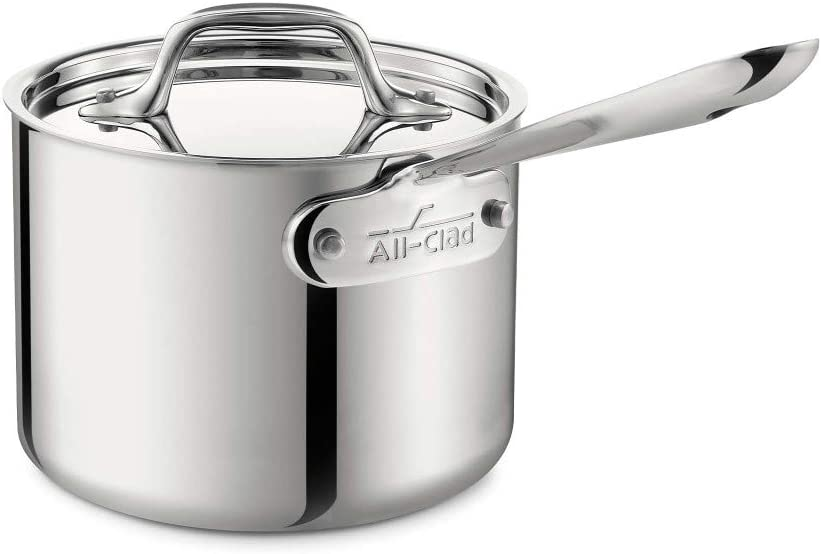 All-Clad Stainless Steel Sauce Pan with Lid Cookware Silver,4202 2-Quart