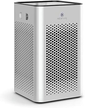 Medify MA-25 Air Purifier with H13 True HEPA Filter | 500 sq ft Coverage | for Smoke, Smokers, Dust, Odors, Pollen, Pet Dander | Quiet 99.9% Removal to 0.1 Microns | Silver, 1-Pack