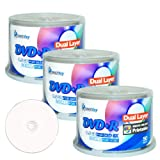 Smart Buy 150 Pack Dvd+r Dl 8.5gb 8x DVD Plus R Double Layer Printable White Inkjet Blank Data Recordable Media 150 Discs Spindle