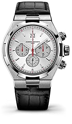 Vacheron Constantin Overseas Automatic Chronograph Silver Dial Black Leather Mens Watch 49150000A-9017