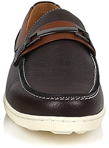 Nieuwe Mode Heren Casual Loafer Slip Op Leer Formele Klassieke Bootschoenen Bruin