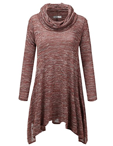 Doublju Thin Heather Knit Asymmetrical Cowl Neck Oversized Tunic Sweater for Women (Made in USA) Rust X-Large (Asymmetrical Cowl Neck)