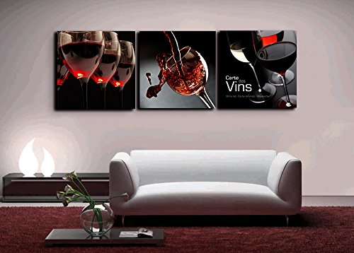 3 Piece Red Wine Glasses Painting Splash Wine canvas, Carte Des Vins HD Prints Pictures Giclee Artwork Wall Art for Dinning Room Kitchen Home Decor Wooden Framed Stretched Ready to Hang(72''Wx24''H)