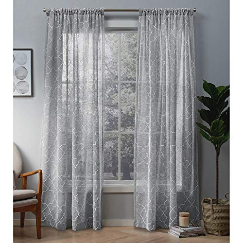 (Exclusive Home Curtains Cali Embroidered Sheer Window Curtain Panel Pair with Rod Pocket, 50x84, Dove Grey, 2 Piece)