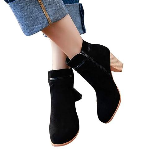 Geili Damen Stiefeletten Kurzschaft Einfarbige Wildleder Franse Stiefel Ankle Boots mit Hoher Blockabsatz Frauen Übergrößen H