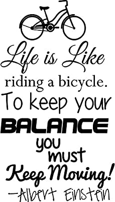 """Life Is Like Riding a Bicycle to Keep Your Balance Keep Moving Wall Decor Gym Fitness Room Sticker Decal (black, small 23"""" tall by 13"""" wide)"""