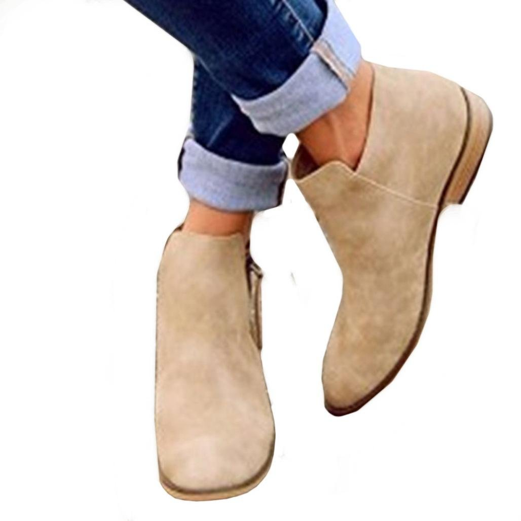 Women Fashion Sandals Boots,Todaies Ladies Women Spring Fashion Casual Pointed Flat Shoes Nude Shoes Zipper Boots (US:8.5, Khaki)