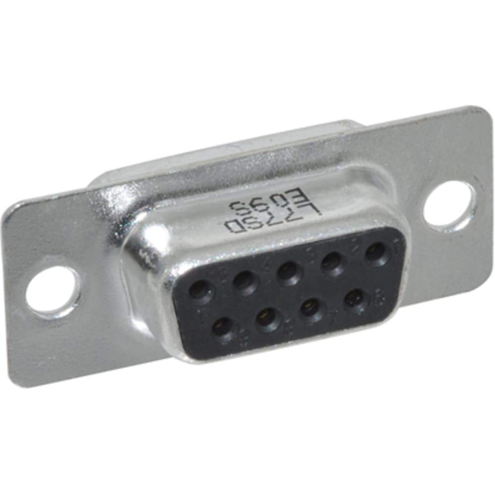 connector; d-sub; fixed cont solder cup recept; 9 stamped and formed socket contact, Pack of 100