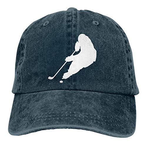 Hockey Player Silhouette Travel Sport Jean Cloth Hat Navy