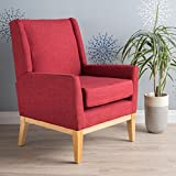 archibald mid century modern fabric accent chair red
