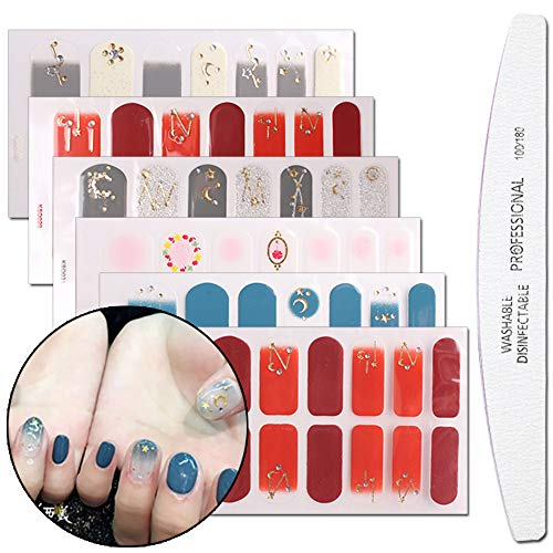 WOKOTO 6 Sheets Gradient Nail Art Polish Wraps Stickers With 1PC Nail File Star Moon Adhesive Nail Decals Manicure Kit For Women