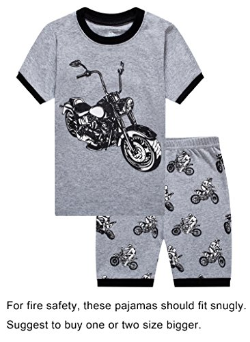 Boys Motorcycle (Barara King Little Boys Snug-Fit Pajama Motorcycle 100% Cotton Grey Pjs Clothes Kid 2T)
