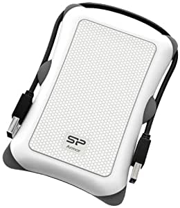 Silicon Power 500GB Rugged Armor A30 Shockproof Standard 2.5-Inch USB 3.0 Military Grade Portable External Hard Drive - White (SP500GBPHDA30S3W)