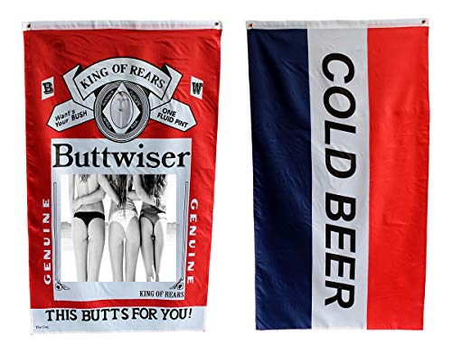 Buttwiser Flag and Cold Beer Flag 3 x 5 Foot Buttweiser King of Rears This Butts for You Guys Funny College Dorm Beer Flag