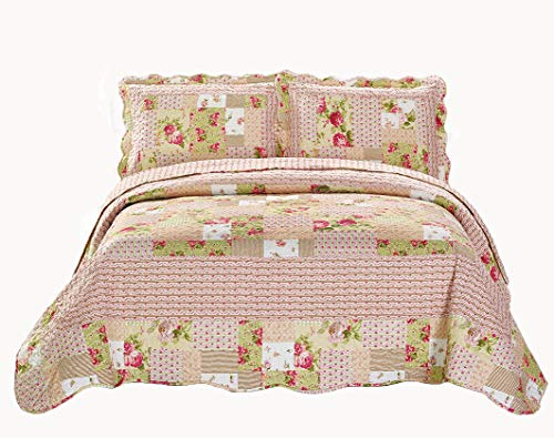 Mk Collection 3pc King/California King Oversize Reversible Quilted Bedspread Set Floral Patchwork Beige Pink Green White - Painted Bed California King