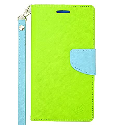 ZTE Quartz Z797C (Straight Talk, Net 10, Tracfone) - Neon Green and Sky Blue PU Leather Wallet Pouch Magnetic Flip Cover Case + Atom (Zte Quartz Case Green)