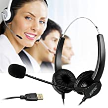 AGPtek Hands-free Noise Volume Control Cancelling Corded Binaural Headset Headphone with Mic Mircrophone for Call Center Phone Desk Telephone - Cord with USB Plug